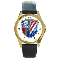 Shanghai Greenland Shenhua F C  Round Gold Metal Watch by Valentinaart