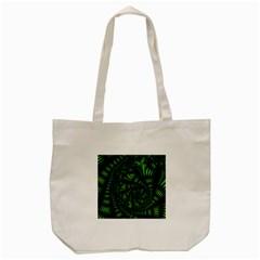 Fractal Drawing Green Spirals Tote Bag (cream) by Simbadda