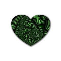 Fractal Drawing Green Spirals Heart Coaster (4 Pack)  by Simbadda