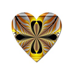 Fractal Yellow Butterfly In 3d Glass Frame Heart Magnet by Simbadda