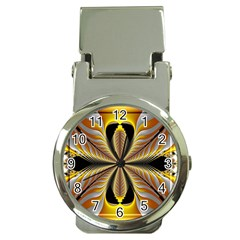 Fractal Yellow Butterfly In 3d Glass Frame Money Clip Watches by Simbadda