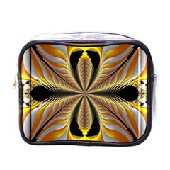 Fractal Yellow Butterfly In 3d Glass Frame Mini Toiletries Bags by Simbadda