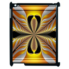 Fractal Yellow Butterfly In 3d Glass Frame Apple Ipad 2 Case (black) by Simbadda