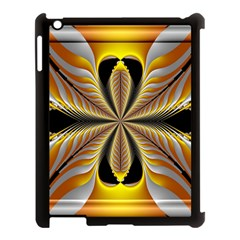 Fractal Yellow Butterfly In 3d Glass Frame Apple Ipad 3/4 Case (black) by Simbadda