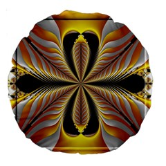 Fractal Yellow Butterfly In 3d Glass Frame Large 18  Premium Round Cushions by Simbadda