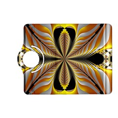 Fractal Yellow Butterfly In 3d Glass Frame Kindle Fire Hd (2013) Flip 360 Case by Simbadda