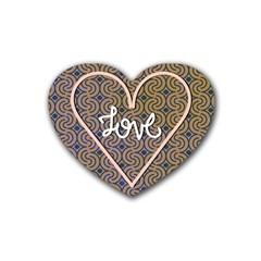 I Love You Love Background Rubber Coaster (heart)  by Simbadda
