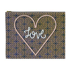 I Love You Love Background Cosmetic Bag (xl) by Simbadda