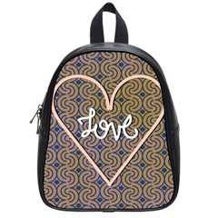 I Love You Love Background School Bags (small)  by Simbadda