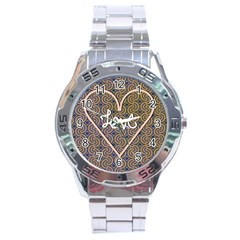 I Love You Love Background Stainless Steel Analogue Watch by Simbadda