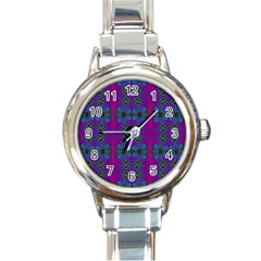 Purple Seamless Pattern Digital Computer Graphic Fractal Wallpaper Round Italian Charm Watch by Simbadda
