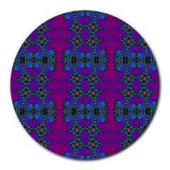 Purple Seamless Pattern Digital Computer Graphic Fractal Wallpaper Round Mousepads by Simbadda