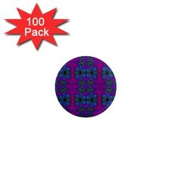 Purple Seamless Pattern Digital Computer Graphic Fractal Wallpaper 1  Mini Magnets (100 Pack)  by Simbadda