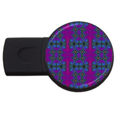 Purple Seamless Pattern Digital Computer Graphic Fractal Wallpaper Usb Flash Drive Round (2 Gb) by Simbadda