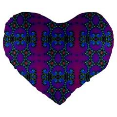 Purple Seamless Pattern Digital Computer Graphic Fractal Wallpaper Large 19  Premium Heart Shape Cushions by Simbadda
