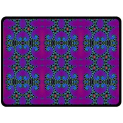Purple Seamless Pattern Digital Computer Graphic Fractal Wallpaper Double Sided Fleece Blanket (large)  by Simbadda