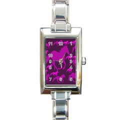 Pink Horses Horse Animals Pattern Colorful Colors Rectangle Italian Charm Watch by Simbadda