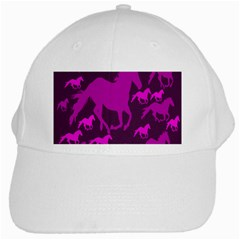 Pink Horses Horse Animals Pattern Colorful Colors White Cap by Simbadda