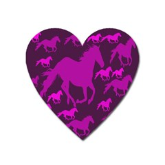 Pink Horses Horse Animals Pattern Colorful Colors Heart Magnet by Simbadda