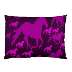 Pink Horses Horse Animals Pattern Colorful Colors Pillow Case by Simbadda