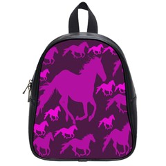Pink Horses Horse Animals Pattern Colorful Colors School Bags (small)  by Simbadda