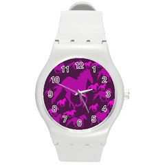 Pink Horses Horse Animals Pattern Colorful Colors Round Plastic Sport Watch (m) by Simbadda