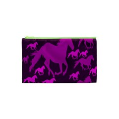 Pink Horses Horse Animals Pattern Colorful Colors Cosmetic Bag (xs) by Simbadda