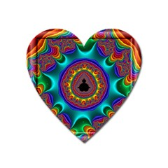3d Glass Frame With Kaleidoscopic Color Fractal Imag Heart Magnet by Simbadda