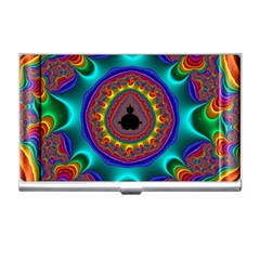 3d Glass Frame With Kaleidoscopic Color Fractal Imag Business Card Holders by Simbadda