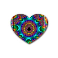3d Glass Frame With Kaleidoscopic Color Fractal Imag Rubber Coaster (heart)  by Simbadda