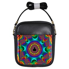 3d Glass Frame With Kaleidoscopic Color Fractal Imag Girls Sling Bags by Simbadda
