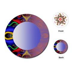 Texture Circle Fractal Frame Playing Cards (round)  by Simbadda