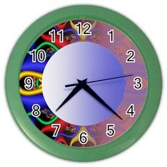 Texture Circle Fractal Frame Color Wall Clocks by Simbadda