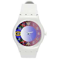 Texture Circle Fractal Frame Round Plastic Sport Watch (m) by Simbadda