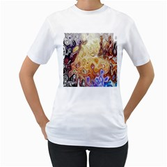 Space Abstraction Background Digital Computer Graphic Women s T-Shirt (White)