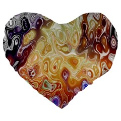 Space Abstraction Background Digital Computer Graphic Large 19  Premium Flano Heart Shape Cushions by Simbadda