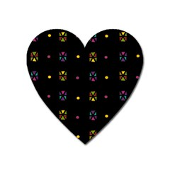 Abstract A Colorful Modern Illustration Black Background Heart Magnet by Simbadda