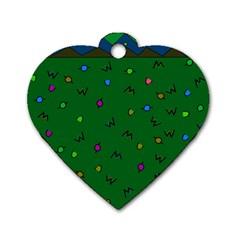 Green Abstract A Colorful Modern Illustration Dog Tag Heart (two Sides) by Simbadda