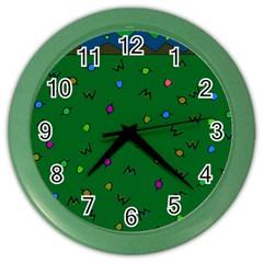 Green Abstract A Colorful Modern Illustration Color Wall Clocks by Simbadda
