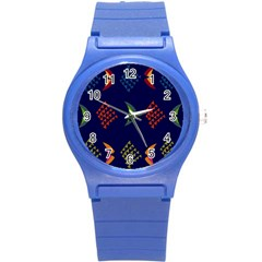 Abstract A Colorful Modern Illustration Round Plastic Sport Watch (s) by Simbadda