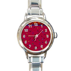 Red Abstract A Colorful Modern Illustration Round Italian Charm Watch by Simbadda