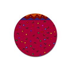 Red Abstract A Colorful Modern Illustration Magnet 3  (round) by Simbadda