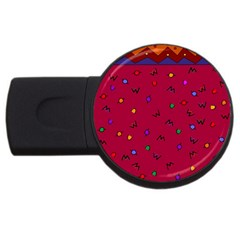 Red Abstract A Colorful Modern Illustration Usb Flash Drive Round (2 Gb) by Simbadda
