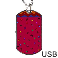 Red Abstract A Colorful Modern Illustration Dog Tag Usb Flash (two Sides) by Simbadda
