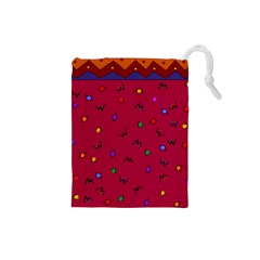 Red Abstract A Colorful Modern Illustration Drawstring Pouches (small)  by Simbadda