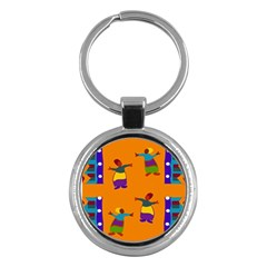 A Colorful Modern Illustration For Lovers Key Chains (round)  by Simbadda