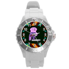 Owl A Colorful Modern Illustration For Lovers Round Plastic Sport Watch (l) by Simbadda