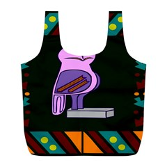 Owl A Colorful Modern Illustration For Lovers Full Print Recycle Bags (l)  by Simbadda