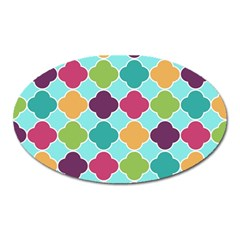 Colorful Quatrefoil Pattern Wallpaper Background Design Oval Magnet by Simbadda