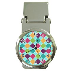 Colorful Quatrefoil Pattern Wallpaper Background Design Money Clip Watches by Simbadda